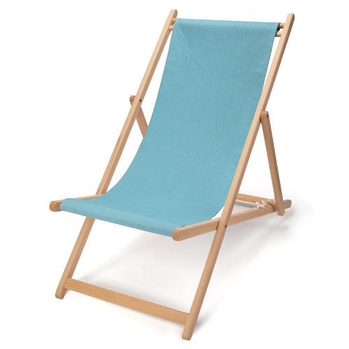 Transat en bois naturel et toile 400g/m² bleu clair