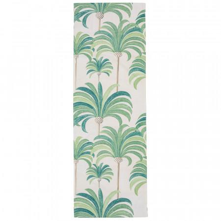 Transat de jardin, acacia et toile en coton palmier vert 2