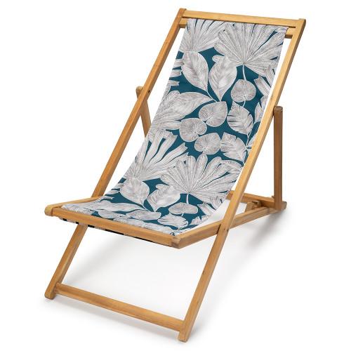 Transat de jardin, acacia et toile en coton feuilles panama