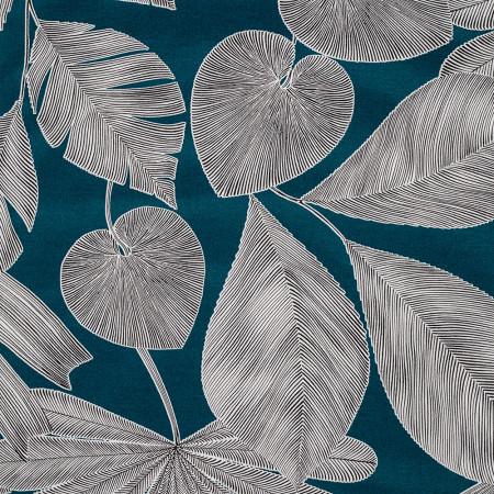 Transat de jardin, acacia et toile en coton feuilles panama 3