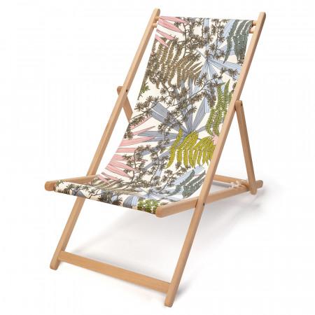 transat de jardin en bois de-hetre et toile en coton imprimée feuilles et fougères fond blanc