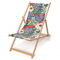 transat de jardin en bois de-hetre et toile en coton imprimée feuillage sur fond bleu