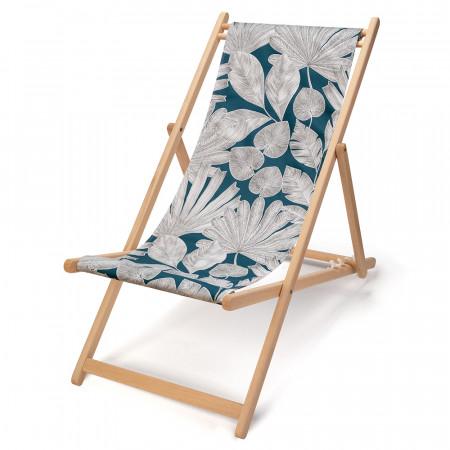 transat de jardin en bois de-hetre et toile en coton imprimée feuillage blanc