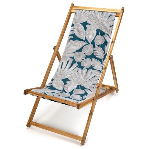 Transat de jardin en bois d'acacia et toile imprimée feuilles d'arbre blanches sur fond bleu Panama