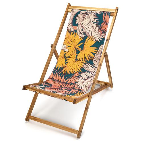Transat de jardin en bois d'acacia et toile imprimée feuilles Palma