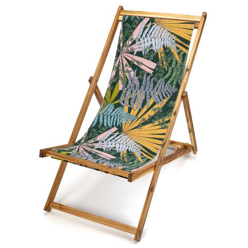 Transat de jardin en bois d'acacia et toile imprimée feuilles et fougères Tropical