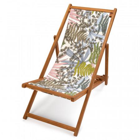 transat de jardin en teck, toile imprimée feuilles et fougères Forêt Rose