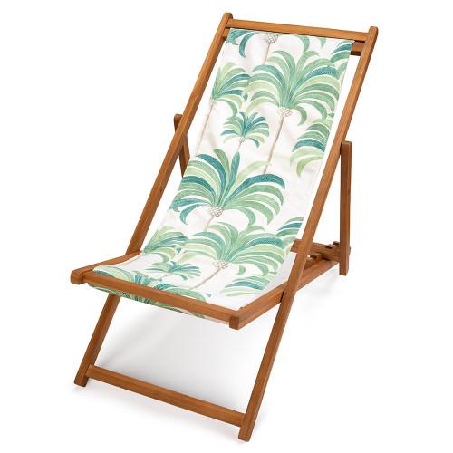 transat en teck, toile imprimée palmiers verts