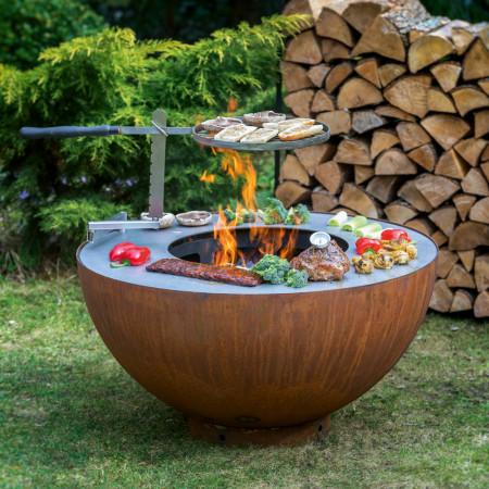 Feu de jardin polyvalent : Barbecue, brasero et plancha en inox et rouille, XXL familial