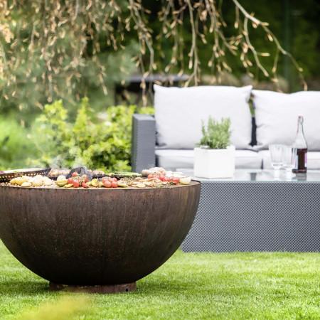 Feu de jardin polyvalent : Barbecue, brasero et plancha en inox et rouille, XXL familial 2