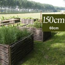 Carré-potager 150 x 150, hauteur 60 cm en bois de noisetier