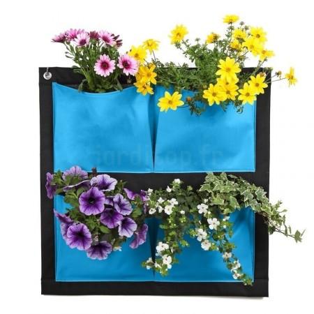 Mur vegetal 4-poche bleu