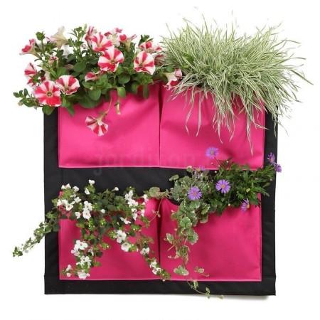 Mur Végétal 4 Poches Fuchsia