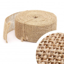 Bande de jute lurex 10m x 5cm Naturel - Or