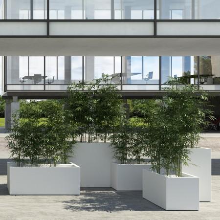 Jardiniere Muret 1m Blanc sur Roulettes contexte
