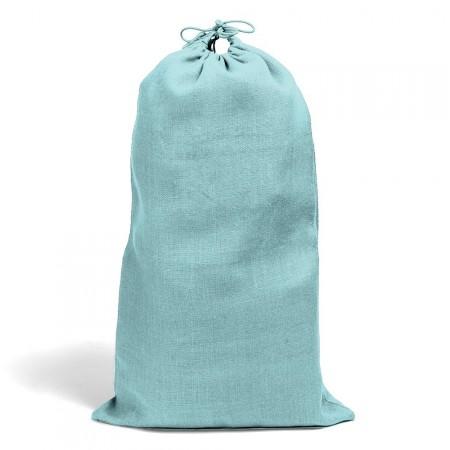 Sac en toile de jute Gris Bleu Turquoise  Fermeture à Lacet 2
