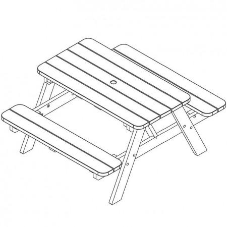 Table a Manger - Table de Jardin en bois 140cm plan