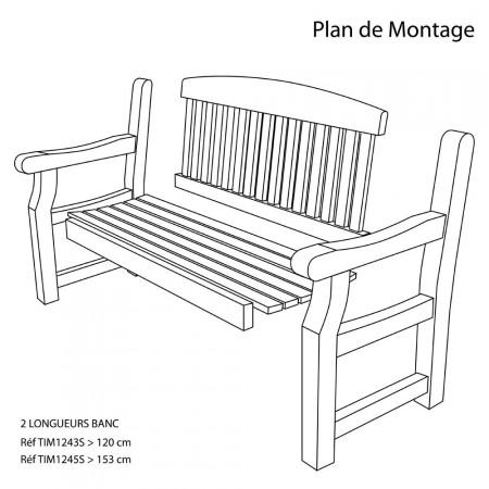 Banc de jardin en bois 1m22 plan de montage