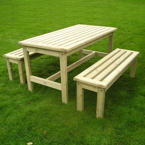 table de jardin avec bancs l 150cm. Black Bedroom Furniture Sets. Home Design Ideas