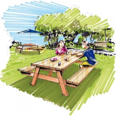 Table a Manger - Table de Jardin en bois140cm - table banc