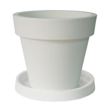 Pot de Fleur Geant 160cm Ikon - Blanc avec Soucoupe