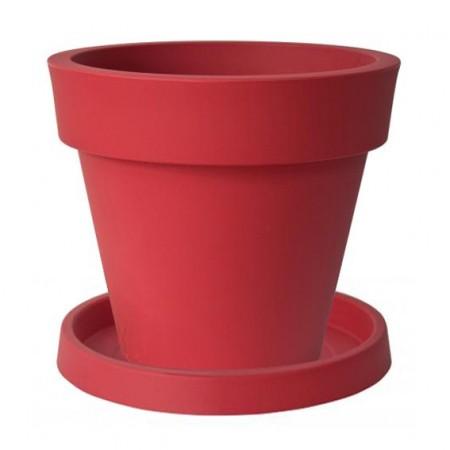 Pot de Fleur Geant 140cm Ikon - Rouge avec Soucoupe