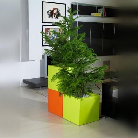 Jardiniere Bac a Fleur Cube 40cm vert contexte