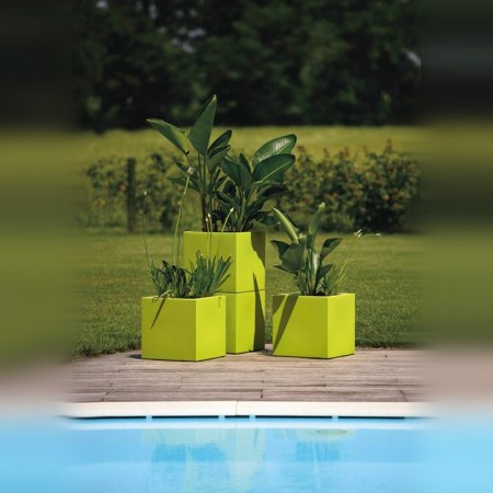 Jardiniere Bac a Fleur Cube exterieur 30cm vert