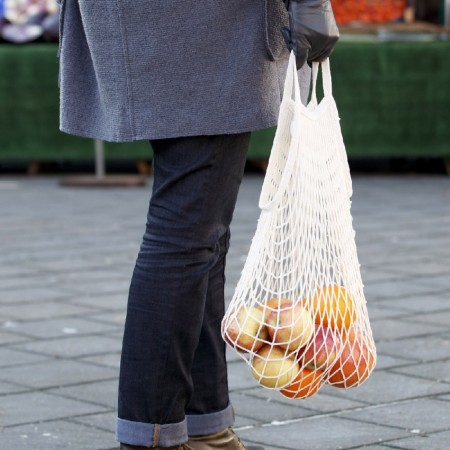 Sac Filet  Petites Anses M Shopping blanc ecru context