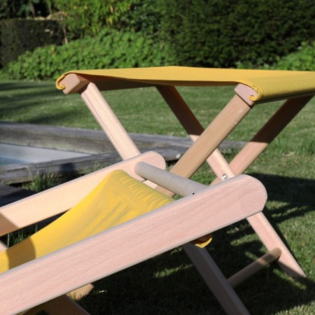 Tabouret Pliant Bois et Toile Mimosa