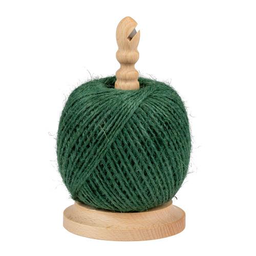 Ficelle jute 2 mm 150 m vert sur dévidoir hêtre avec lame 17cm