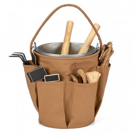 Sac Jardinage Transport Outils Caramel avec seau 2
