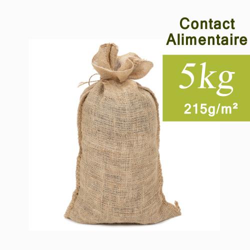 petit sac toile de jute, contact alimentaire, 6 kg, 32x51 cm, 215g