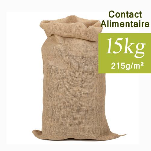 Sac jute Contact Alimentaire 15kg, 40x61cm 215g/m²
