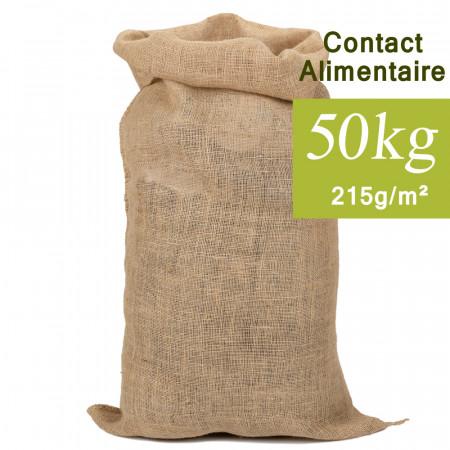Sac en jute 50kg, contact alimentaire 60x110cm 215g/m²