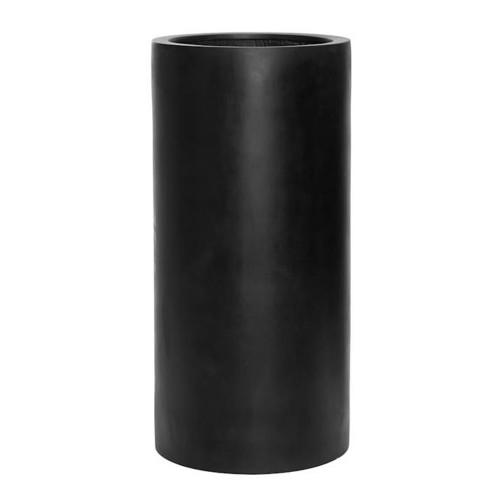 pot droit et haut en fiberstone noir 80 cm
