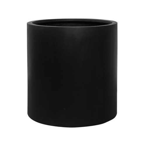 pot fut large, cylindre en fiberstone noir h: 50 cm