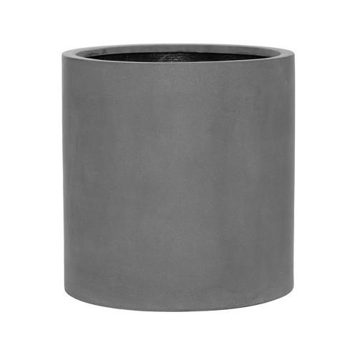 pot large pour exterieur, cylindre en fiberstone gris 50 cm
