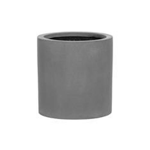 pot d'exterieur, cylindre en fut large, fiberstone de 30 cm