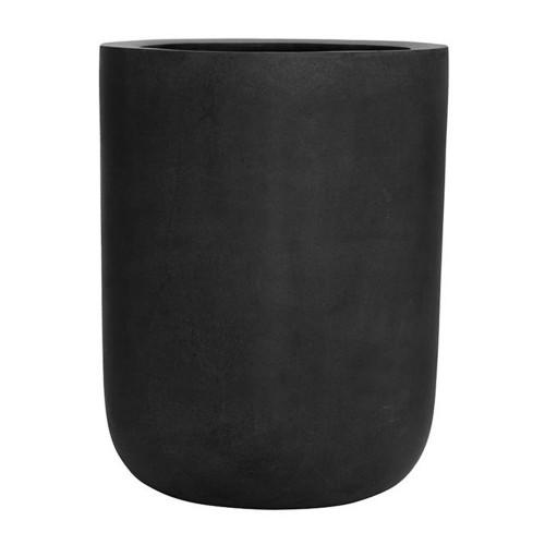 pot droit forme ronde, noir pour deco exterieur, h:60cm