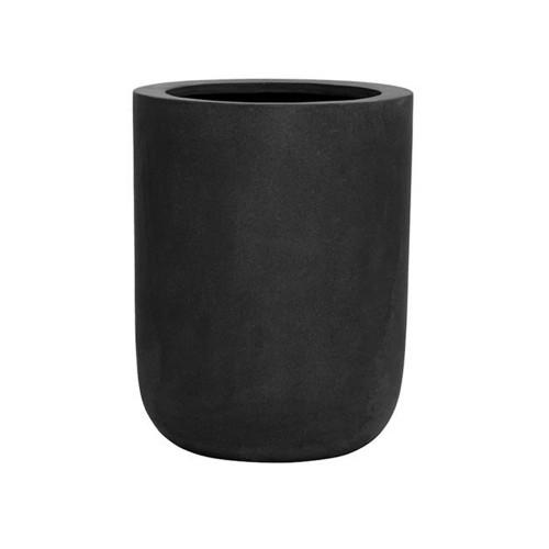 pot droit de forme ronde en fiberstone noir h:44cm exterieur