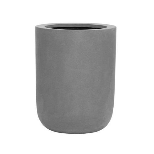 pot droit base rond et design, en fiberstone gris h:44cm