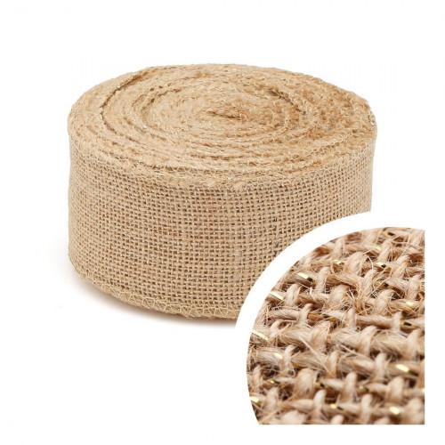 Ruban tissu lurex en jute 10m x 6cm