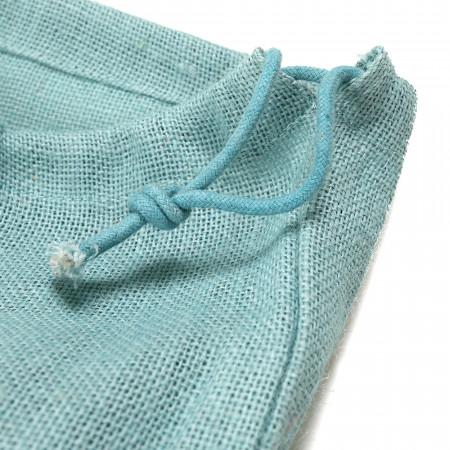 Sac en Jute à Lacet, Bleu Pastel detail