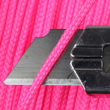 Ficelle couleur rose fluorescent en polypropylène, tresse ronde en 6 brins detail