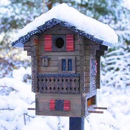 maison pour vos oiseaux, nichoir décor chalet suisse 2