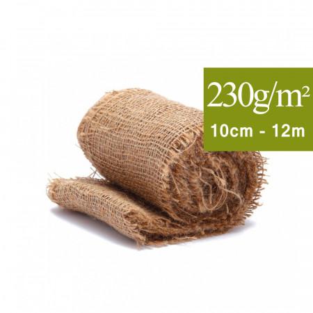 Toile de Jute 10 cm, bande 12m, pour la protection des arbres et plantes