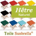 Tabouret Pliable Bois et Toile Sunbrella