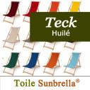Transat en Teck et Toile Sunbrella