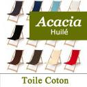 Transat Pliable, Acacia Huilé et Toile Coton